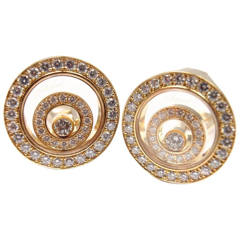 Chopard Happy Spirit Diamond Yellow Gold Earrings