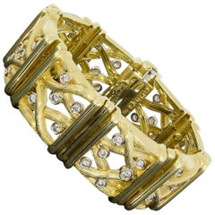Spectacular Henry Dunay Diamond Sabi Finish Bamboo Gold Bracelet