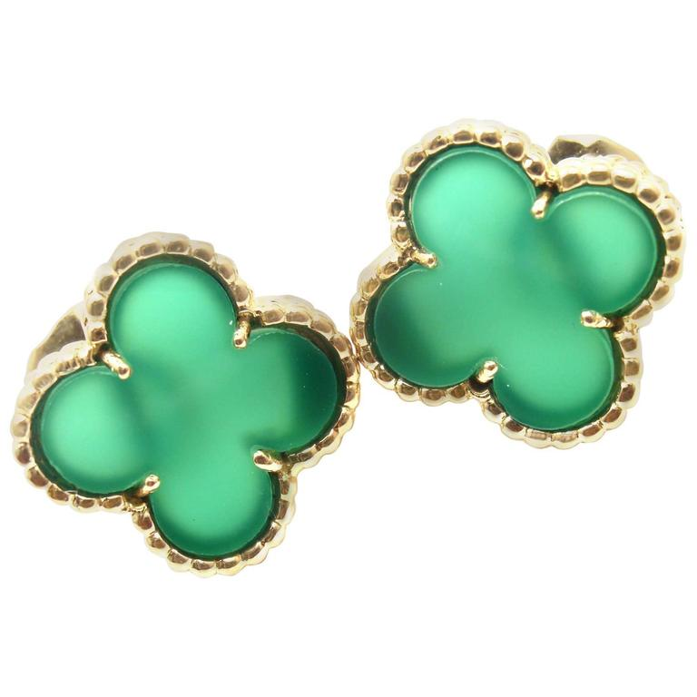 Van Cleef Arpels Vintage Alhambra Green Chalcedony Yellow Gold Earrings For