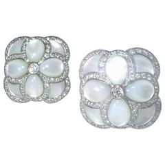 Fancy Cut Mother-of-Pearl and Diamond Earrings