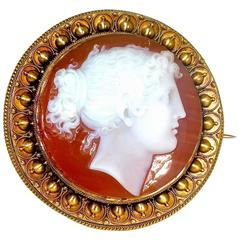 Antique Neoclassical Carnelian Cameo, circa 1850