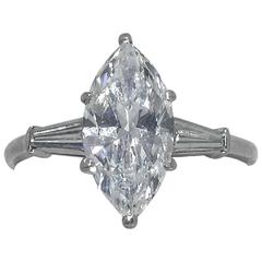 Cartier GIA Certified D Color 2.32 Carat Marquise Diamond Ring