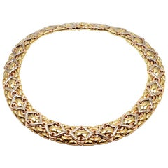 Bulgari Wide Tri-Color Gold Collar Necklace
