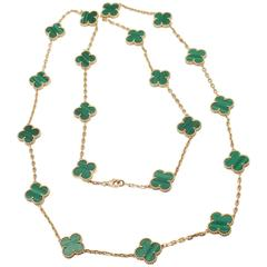 Van Cleef & Arpels Vintage Alhambra Malachite 20 Motif Gold Necklace