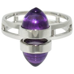Lizunova Amethyst White Gold Contemporary Cluster Ring