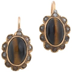 Pair of Tiger Eye Pearl Gold Earrings