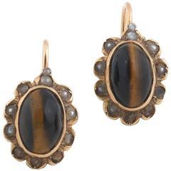 Pair of Tiger Eye Pearl Gold Earrings