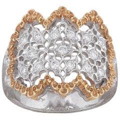 1980s Buccellati Diamond Bicolored Gold Dress Ring