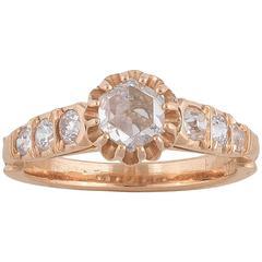 Rose Diamond Single Stone Engagement Ring