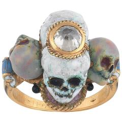 1980s Attilio Codognato Renaissance Revival Enamel Diamond Four Skull Ring