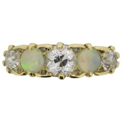 Victorian Five-Stone and Opal Ring, circa 1880s