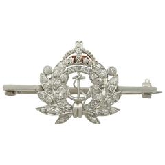 Antique Diamond and White Gold Royal Navy Brooch