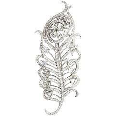 10 Carat Diamond White Gold Leaf Brooch Pin