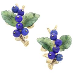 1950s Paltscho Vienna Nephrite Jade Lapis Lazuli Fruiting Branch Gold Earclips