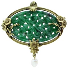 Antique Carved Jade with Natural Pearl Brooch