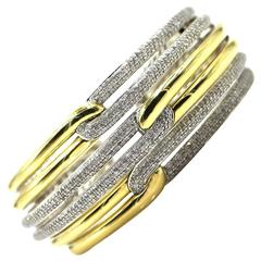 David Yurman Labyrinth Diamond Triple Loop Hinged Cuff Bracelet