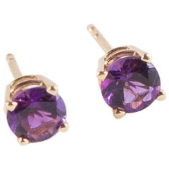 Amethyst and Yellow Gold Stud Earrings