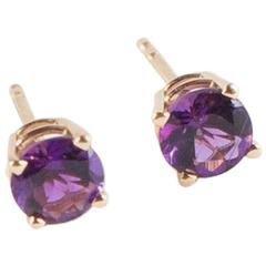 Lively Bright Round Amethyst Yellow Gold Stud Earrings