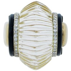 Park Place Antique Jewelry Mayor S Significant Fluted Rock Crystal Onyx Diamond Yellow Gold Ring