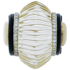 Mayor's Significant Fluted Rock Crystal Onyx Diamond Yellow Gold Ring