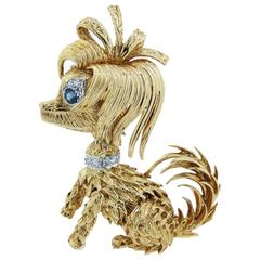 Kutchinsky Sapphire and Diamond Precious Pooch Brooch