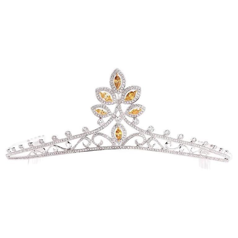 GIA Certified Natural Fancy Diamond Gold Tiara For Sale