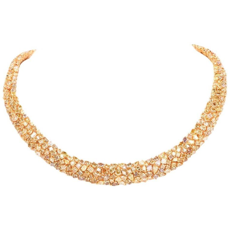 Exceptional Natural Multi-Color Fancy Diamond Gold Cluster Necklace