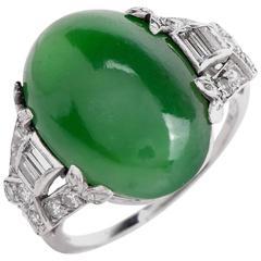 GIA Certified Art Deco 10.22 Carat Jade Cabochon Diamond Platinum Ring
