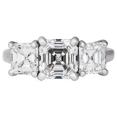 GIA Certified 1.64 Carat F/VS1 Asscher Cut 3 stone Platinum Engagement Ring