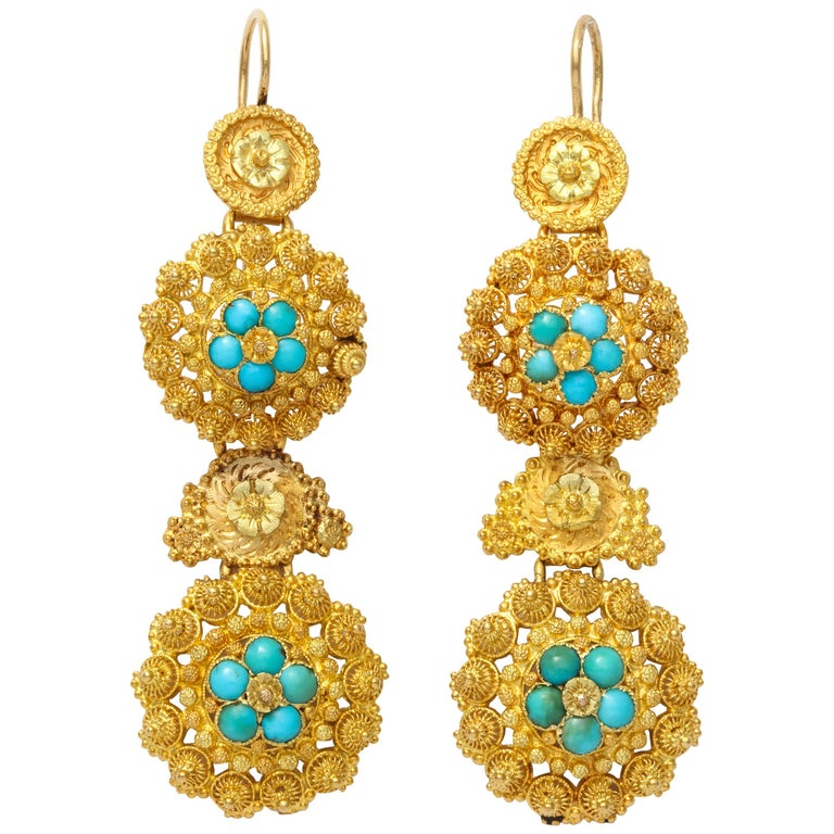 Antique Regency Cannetille Gold Turquoise Chandelier Earrings
