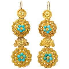Regency Cannetille Gold Turquoise Chandelier Earrings