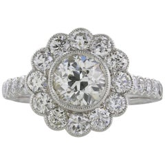 1.10 Carat Old European Cut Diamond Cluster Engagement Ring