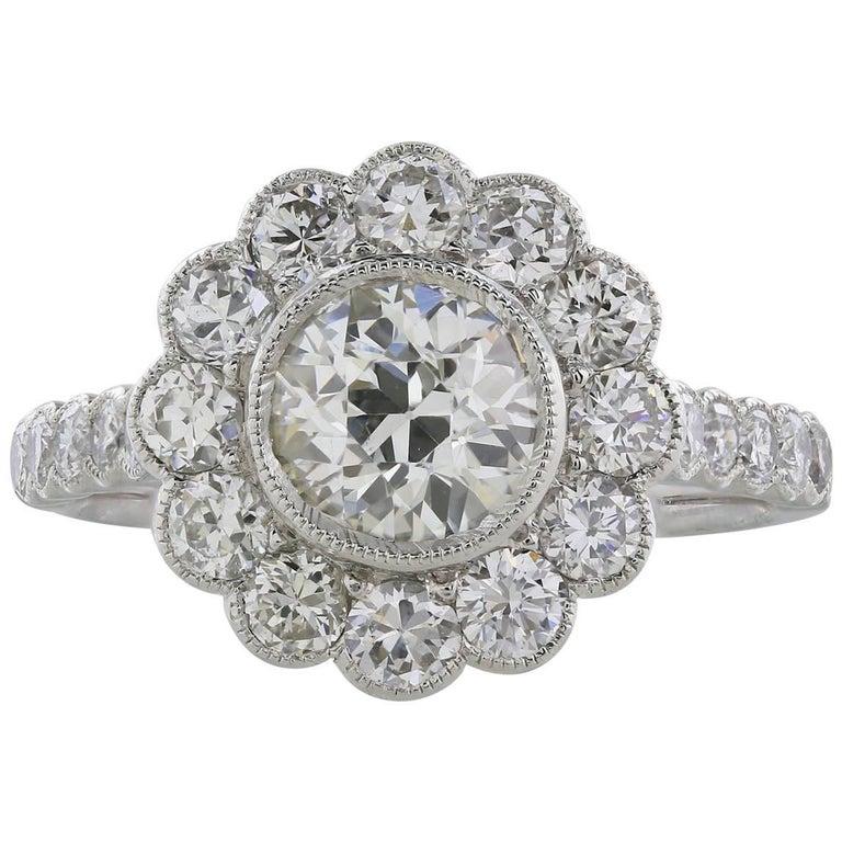 1.10 Carat Old European Cut Diamond Cluster Engagement Ring