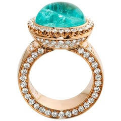 Neon Luxury Paraiba Tourmaline Pave Diamond 18 Karat Gold Cocktail Ring