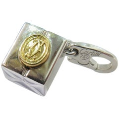 Cartier Double C Logo White and Yellow Gold Gift Box Motif Charm Pendant