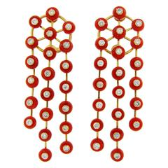 Aletto Brothers Coral Diamond Yellow Gold Earrings