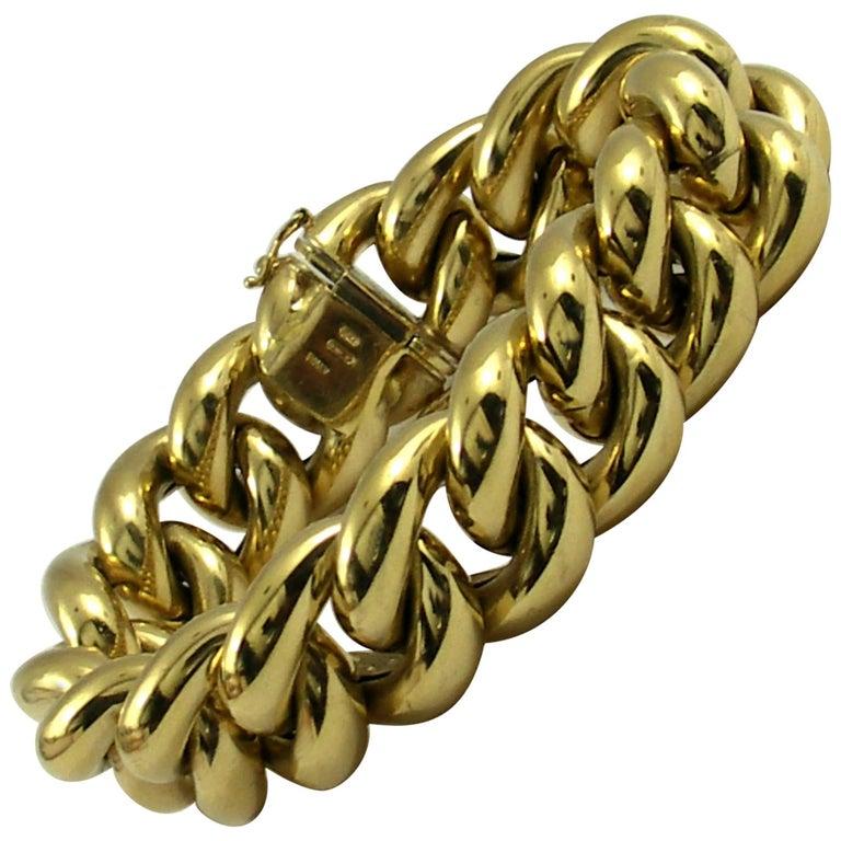 Puffed Gold Curb Link Bracelet