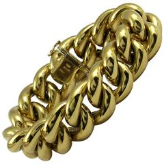 Puffed Gold Curb Link Bracelet