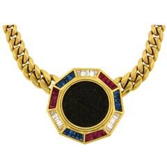 Bulgari Diamond Ruby Sapphire Yellow Gold Coin Pendant Necklace