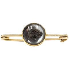 Early 20th Century 18 Karat Gold Rock Crystal Reverse-Carved Intaglio Brooch
