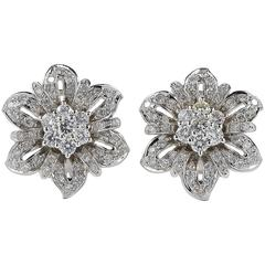 2.35 Carat Diamond Beautiful Vintage Flower Earrings