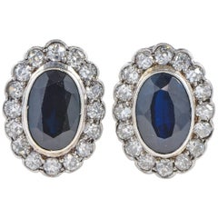 Art Deco 8.40 Carat Natural No Heat Sapphire and 2.60 Carat Diamond Earrings