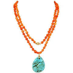 Decadent Jewels Coral and Turquoise Gold Sautoir Necklace