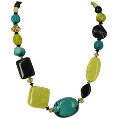 Decadent Jewels Turquoise Lemon Jade Onyx Agate Coral Gold Necklace