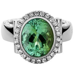 Jochen Leën Platinum Ring, 1.18 Carat Diamonds and 4.07 Carat Mint Tourmaline