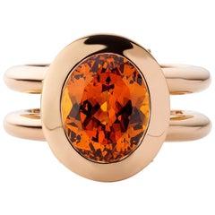 Jochen Leën Pure Line, Hidden Luxury Ring, Mandarin Garnet 5.38 Carat