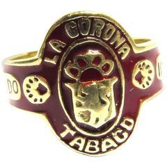 Timeless Enamel Gold Cigar Band Ring La Corona Tabaco