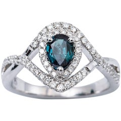 Pear Shape Alexandrite and Diamond Ring with Certificate