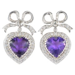 Heart Bow 20.0 Carat Amethyst 2.70 Carat Diamond Vintage Earrings