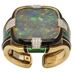 David Webb 120 Carat Opal Black Enamel Diamond Gold Cuff Bracelet